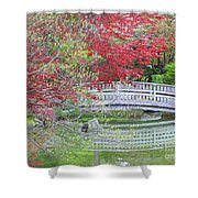Spring Color Over Japanese Garden Bridge Shower Curtain