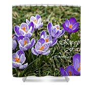 Spring Crocus With Scripture Shower Curtain