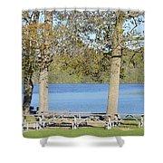 Spring Fed Shepherd Lake Shower Curtain
