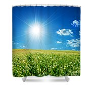 Spring Field With Flowers And Blue Sky Shower Curtain