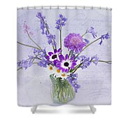 Spring Flowers In A Jam Jar Shower Curtain