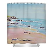Spring Hills And Seashore At Bowling Ball Beach Shower Curtain
