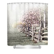 Spring Landscape With Fence Shower Curtain