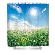 Spring Meadow Under Sunny Blue Sky Shower Curtain