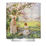 Spring   Picking Flowers Shower Curtain