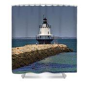 Spring Point Ledge Light Shower Curtain by Joann Vitali