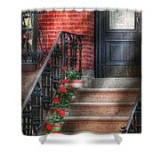 Spring - Porch - Hoboken Nj - Geraniums On Stairs Shower Curtain by Mike Savad