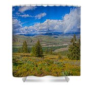 Spring Rain Across A Valley Shower Curtain