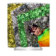 Spring Rainbow And Girl Shower Curtain