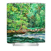 Spring Rapids On The New River Shower Curtain