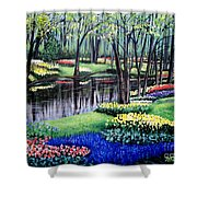 Spring Spendor Tulip Garden Shower Curtain