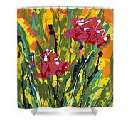 Spring Tulips Triptych Panel 3 Shower Curtain