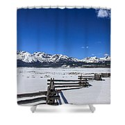 Spring View Of The Sawtooth Mountains Shower Curtain