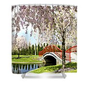 Spring Walk Around Lake Shower Curtain