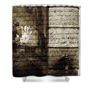 spring water memories - A letter and hand print composition beside a vintage griffin Shower Curtain