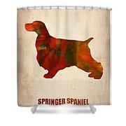 Springer Spaniel Poster Shower Curtain by Naxart Studio