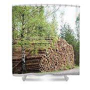 Springtime Logs Shower Curtain