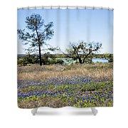 Springtime Texas Bluebonnets Naturalized Shower Curtain