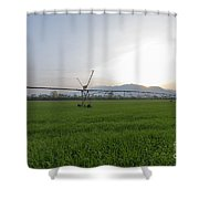 Sprinklers On A Green Field Shower Curtain