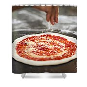 Sprinkling Cheese On Home Made Pizza Shower Curtain