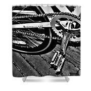 Sprocket And Chain - Black And White Shower Curtain