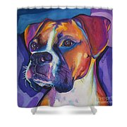 Square Boxer Portrait Shower Curtain by Robyn Saunders