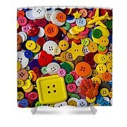 Square Button Shower Curtain by Garry Gay