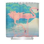 Square Format - Pink Flamingos Retro Pop Art Nouveau Tropical Bird 80s 1980s Florida Painting Print Shower Curtain