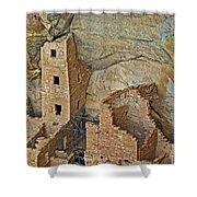 Square Tower House Closeup On Chapin Mesa Top Loop Road In Mesa Verde National Park-colorado Shower Curtain
