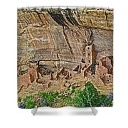 Square Tower House On Chapin Mesa Top Loop Road In Mesa Verde National Park-colorado Shower Curtain