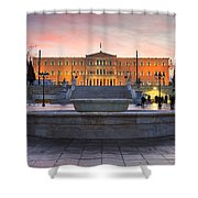 Square With A Fountain Shower Curtain