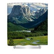 Squaretop Mountain 3 Shower Curtain