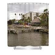 Squid Lips Restaurant  At The Eau Gallie Causeway Over The India Shower Curtain