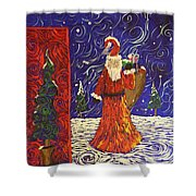 Squiggle Christmas Shower Curtain