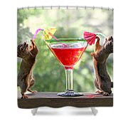 Squirrels At Cocktail Hour Shower Curtain