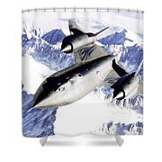 Sr-71 Over Snow Capped Mountains Shower Curtain