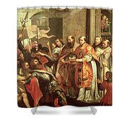 St. Bernard Of Clairvaux 1090-1153 And William X 1099-1137 Duke Of Aquitaine Oil On Canvas Shower Curtain