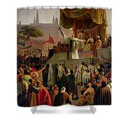St Bernard Preaching The Second Crusade In Vezelay Shower Curtain