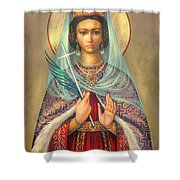 St. Catherine Shower Curtain by Zorina Baldescu
