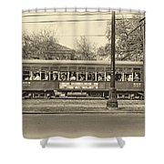 St. Charles Ave. Streetcar Sepia Shower Curtain