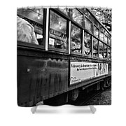 St. Charles Ave Streetcar Whizzes By-black And White Shower Curtain