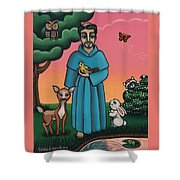 St. Francis Animal Saint Shower Curtain by Victoria De Almeida