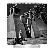St Francis In Black And White Shower Curtain