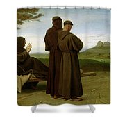 Saint Francis Of Assisi, While Being Carried To His Final Resting Place At Saint-marie-des-anges Shower Curtain