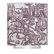 St. George - Woodcut Shower Curtain