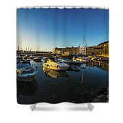 St Hellier Harbour  Shower Curtain