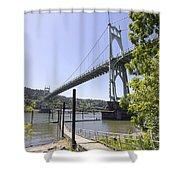 St Johns Bridge Over Willamette River Shower Curtain