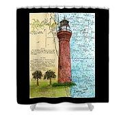 St Johns River Lighthouse Fl Nautical Chart Map Art Cathy Peek Shower Curtain