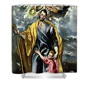 Saint Joseph And The Christ Child Shower Curtain