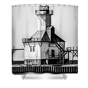 St. Joseph Lighthouse Black And White Picture  Shower Curtain by Paul Velgos